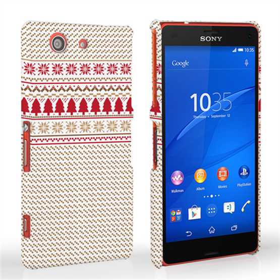 Caseflex Sony Xperia Z3 Compact Christmas Knitted Snowflake Jumper Hard Case - Brown / Red / White