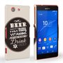 Caseflex Sony Xperia Z3 Compact Beer Label Quote Hard Case – Brown
