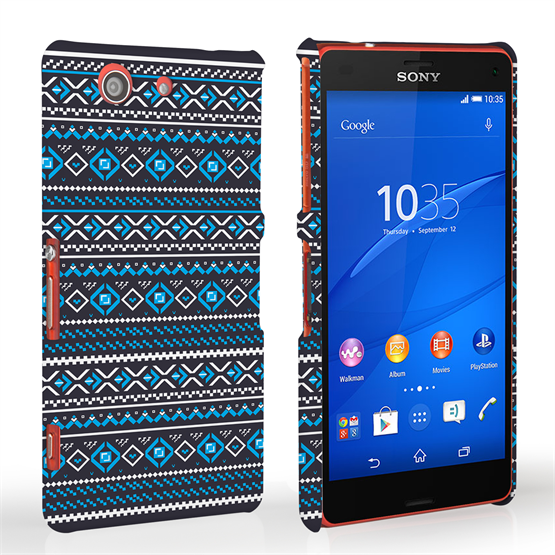 Caseflex Sony Xperia Z3 Compact Fairisle Case – Grey with Blue Background