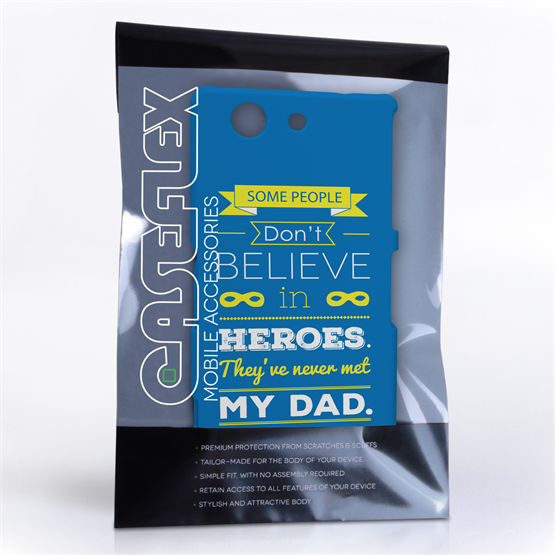 Caseflex Dad Heroes Quote Sony Xperia Z3 Compact Case - Blue