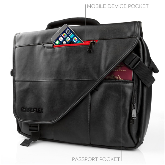 Caseflex Pu Leather Laptop Messenger Bag Black