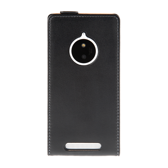 Caseflex Nokia Lumia 830 Real Leather Flip Case - Black