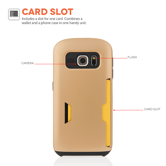 Caseflex Samsung Galaxy S6 Hard Case With Card Slots Matte Finish - Gold Case