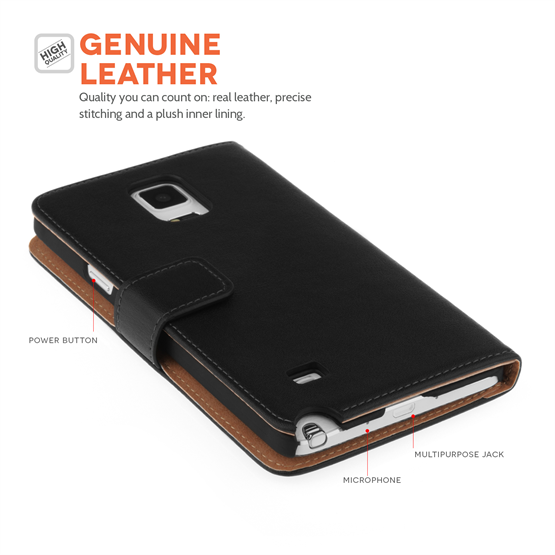 Caseflex Samsung Galaxy Note 5 Real Leather Wallet Case - Black