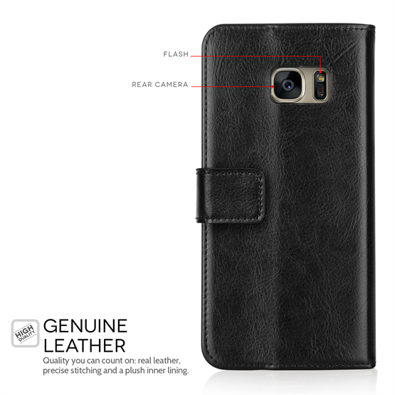 Caseflex Samsung Galaxy S7 Real Leather Wallet Case with ID Slot - Black