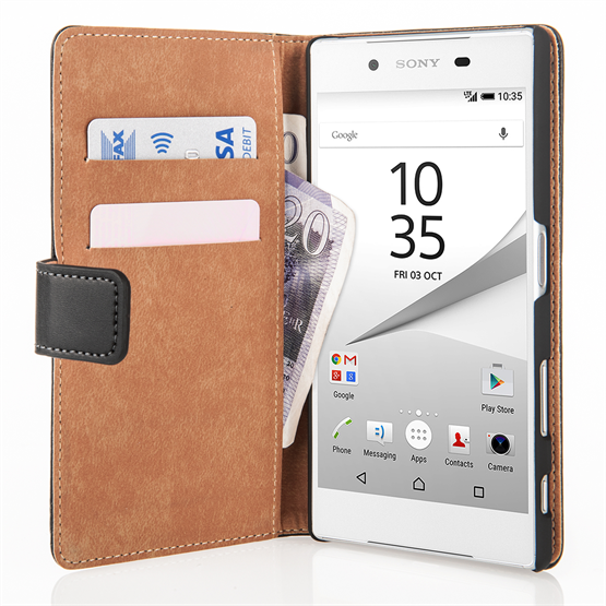 Caseflex Sony Xperia Z5 Real Leather Wallet Case - Black