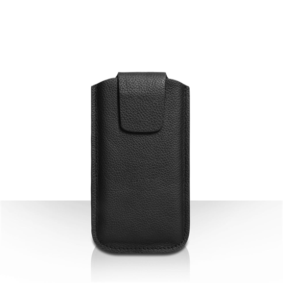 Caseflex Small Real Leather Textured Phone Pouch - Black